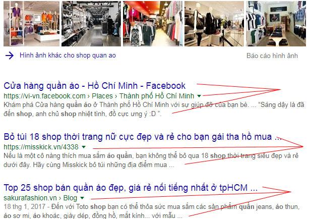 Kết quả tìm kiếm từ Google Search