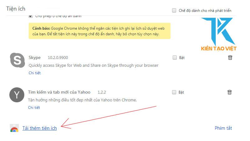Tải thêm tiện ích google chrome