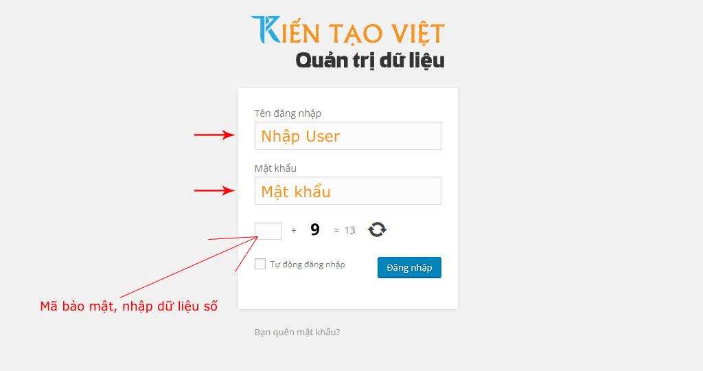 Đăng nhập quản trị Kiến Tạo Việt