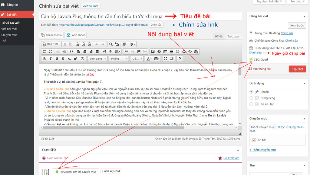 Chi tiết trang chỉnh sửa bài viết WordPress