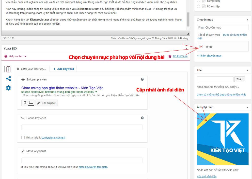 Cập nhật hình đại diện cho nội dung bài wordpress