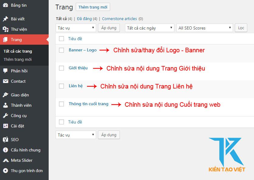 Sử dụng phần Trang trong WordPress